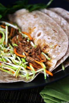 Slow Cooker Hoisin Pork Tacos with Broccoli Slaw