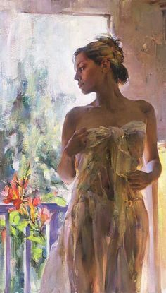 """Michael  Inessa Garmash  Rare Beauty  Embellished giclee on Canvas  30""""h x 18""""w"""