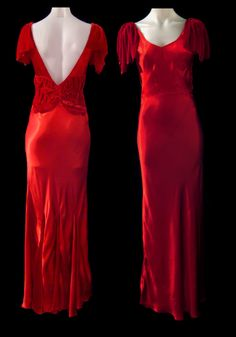 1930's Bias Cut Red Silk and Velvet Gown