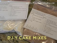 D.I.Y. Chocolate & Yellow Cake Mixes
