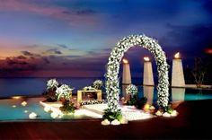 idea, dream, wedding arches, beach weddings, trees, hotel, banyan tree, pools, bali wedding
