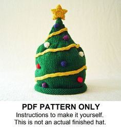 Knit Hat Knitting Pattern Christmas Tree Hat by FiddlestyxStudios