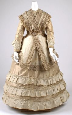 Afternoon Dress: ca. late 1860's, American, silk.