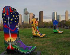 Cowboy Boot Art, Houston Rodeo, Houston, Texas.