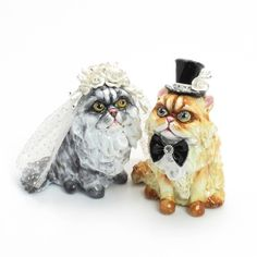 Persian Cat Lover Wedding Cake Toppers 00001 Clay Sculpted Figurine Handmade Art