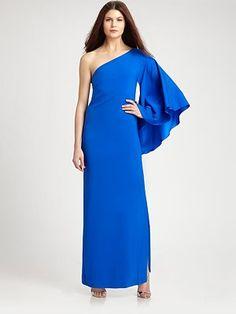 Nicole Miller Asymmetrical Silk Gown
