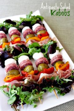 cook, food, drink, everyon, entertain, eat, salad appetizer, antipasto salad kabobs, party kabobs