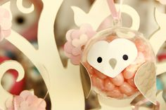 Adorable owls made from clear ornaments