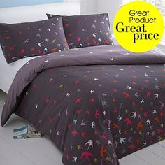 Grey 'Swallows' bedding set