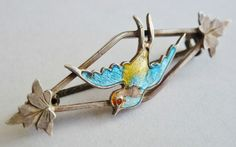 Art Deco Silver & Enamel Bird Brooch
