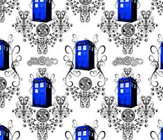 TARDIS Travels Damask fabric by fentonslee on Spoonflower - custom fabric
