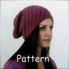 ribbed crochet  beanie PATTERN ONLY with variations by taraduff, $5.00