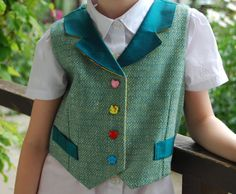 Childrens/Girls Tweed Waistcoat - Size M (24-25 inch chest) (Age approx 5-6 yrs)
