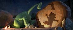 "Arlo, a 70-foot-tall teenage Apatosaurus, befriends a young human boy named Spot in Disney•Pixar's ""The Good Dinosaur""—in theaters May 30, 2014."