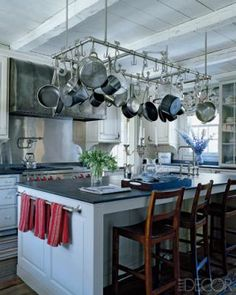 Pot and Pan Rack over Island with White cabinets and dark countertops