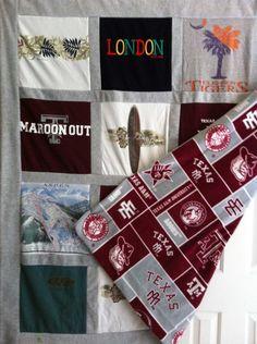 College T-shirt Memory Quilt.  A print fleece on back.  Great graduation idea. $144