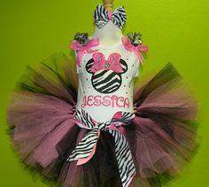 Hot Pink Rhinestone Zebra Minnie Mouse Birthday Girls Tutu Set