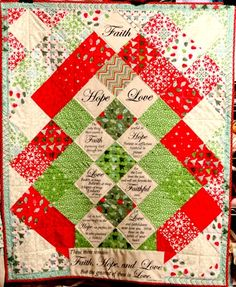a fun quilt made from Say It With Words panel and a layer cake