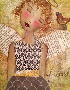 Angel notecards mixed media painting print, angel mixed media print,fine art print, original angel print, Angel, mixed media print, 1011f