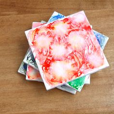 These dreamy watercolor tile coasters are so easy to make!