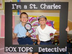 We at St. Charles are known for being Box Tops Detectives so I figured out a way to make a photo-op for the students to celebrate their success!