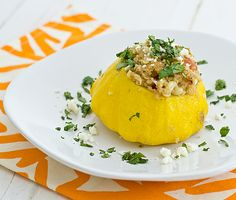 Stuffed Pattypan Squash with Quinoa & Fresh Corn