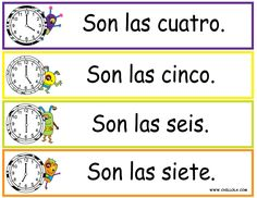 FREE ~ Spanish Printouts for Children ~ Worksheet Time ~ Time in Spanish ~ Available in Spanish, French, German, Italian and English. Visit www.chillola com or follow us: http://pinterest.com/chillolacom/boards/