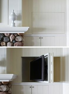 Hiding a TV in a paneled wall has never been so easy. This one does a full 360 degree turn in a hidden space above a cabinet.