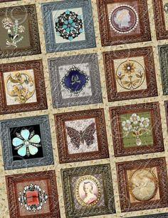 This links to a digital pattern, but I like the idea of framing series of brooches... use same size square, maybe out of fabric from scarves and display in this style.