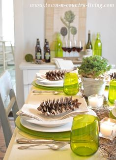 Green and White Modern Country Table Setting -Turkey Dinner Tablescape