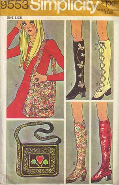 Vintage 1970s GoGo boots Spats and Hippie Purse by PeoplePackages, $24.00