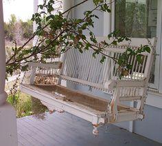 Vintage White Porch Swing