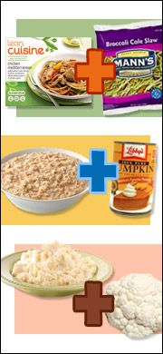 Filling Low-Calorie Meals - how to make some meals more substantial without breaking the calorie budget, and Buying Groceries on a Budget - lots of snack ideas that won't break the bank | Hungry Girl