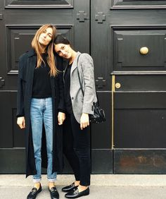 Tordini sisters, jeans, blue trench coat, grey blazer, flat shoes, Gucci Loafers, street style
