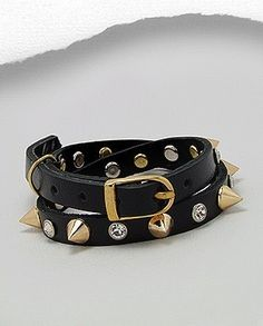 Gold-tone Spike Clear Rhinestone Black Leather Wrap Bracelet Buckle Closure