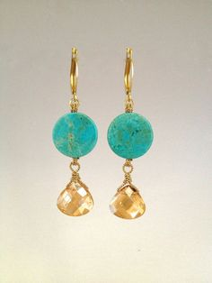 Drop Earring with Turquoise Stones by Hibiscus03 on Etsy, $35.00