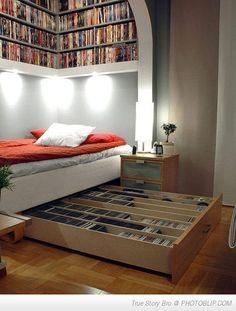 Storage Ideas books, dream, book nooks, under bed storage, book storage, librari, reading nooks, storage ideas, bedroom