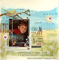 Layers of ink - Drawing without an eraser, made with Tim Holtz dies and stamps, and Simon Says Stamp Exclusive products, watercolours.