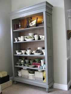 Repurposed doors project - build a bookcase out of an old vintage door, via Joys Of Home