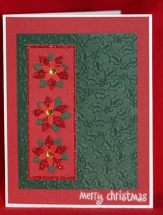 Poinsettia and Holly Handmade Christmas Card. $2.95, via Etsy.