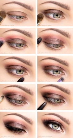 night makeup brown eyes, nail, pink smokey eye for brown eyes