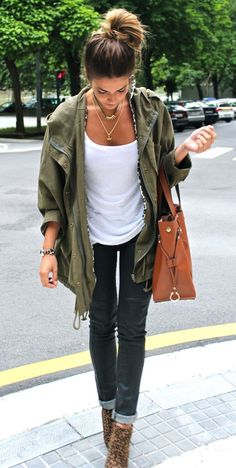 jean, jacket, fall looks, fall outfits, casual looks, shoe, parka, coat, leopard