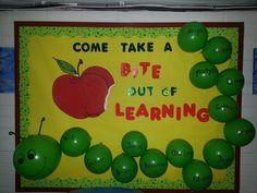 Welcome back to school bulletin board. classroom stuff, park park, alphabet bulletin board ideas, hungry caterpillar, bulltin board, claudia park, school idea, futur teach, back to school bulletin boards