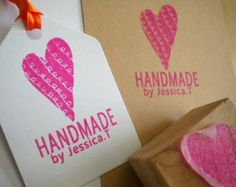 Custom Handmade by Squiggle Heart Stamp Olive Wood Stamp