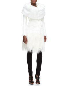 Long Belted Goat Fur Jacket, Goat Fur Collar & Structured Jersey Leggings by Donna Karan at Bergdorf Goodman.