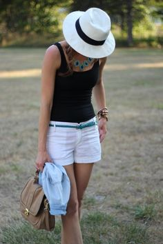 """totally cute outfit (INCLUDING the hat!!!) but for """"my"""" style, NOT black and white! maybe navy blue shorts and purple shirt. :)"""