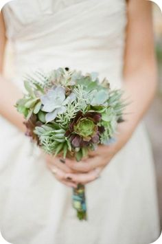 Succulent Wedding Bouquet. YES. (Pure succulents) #inlove