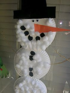 Paper PlateSnowman-  paper plates, cotton balls, googly eyes, construction paper, sticks for the arms
