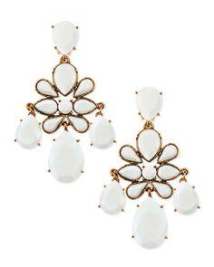 Faceted Chandelier Clip-On Earrings, White by Oscar de la Renta at Bergdorf Goodman.