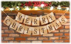 Charming Burlap MERRY CHRISTMAS Banner by PineappleSoupDesigns